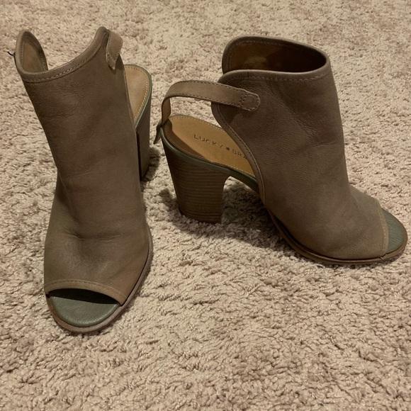 Lisza Leather Open Toe Booties 8
